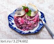Купить «Русский салат винегрет с кусочками селедки», фото № 3274602, снято 6 апреля 2011 г. (c) ElenArt / Фотобанк Лори
