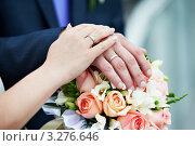 Купить «Руки молодоженов с обручальными кольцами на фоне букета», фото № 3276646, снято 18 сентября 2010 г. (c) Сергей Рыжов / Фотобанк Лори