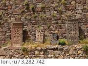 Старые хачкары у стены Гегардаванк (2009 год). Стоковое фото, фотограф Андрей Щавелев / Фотобанк Лори