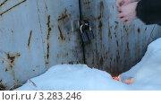 Купить «Мужчина отогревает открытым огнем гаражный замок. Городской гаражный кооператив с металлическими гаражами зимой», видеоролик № 3283246, снято 23 февраля 2012 г. (c) Mikhail Erguine / Фотобанк Лори