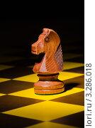 Купить «Деревянный шахматный конь стоит на доске», фото № 3286018, снято 20 января 2012 г. (c) Elnur / Фотобанк Лори