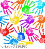 Купить «Разноцветные отпечатки ладоней на белом фоне», фото № 3286986, снято 23 марта 2019 г. (c) Elnur / Фотобанк Лори