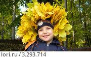 Купить «Портрет ребёнка в венке из жёлтых листьев», фото № 3293714, снято 1 октября 2011 г. (c) Константин Кург / Фотобанк Лори