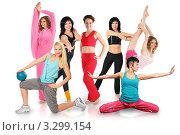 Улыбающиеся молодые женщины в спортивной форме делают различные упражнения. Коллаж. Стоковое фото, фотограф Losevsky Pavel / Фотобанк Лори