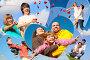 Коллаж из фотографий счастливых семей на фоне синего неба, фото № 3299170, снято 5 июня 2009 г. (c) Losevsky Pavel / Фотобанк Лори