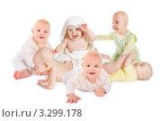 Шесть счастливых улыбающихся младенцев на белом фоне. Стоковое фото, фотограф Losevsky Pavel / Фотобанк Лори