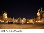Купить «Сквер у фасада Лувра со стеклянной пирамидой и статуей  Луи XIV в ночной подсветке», фото № 3299786, снято 16 июня 2019 г. (c) Losevsky Pavel / Фотобанк Лори