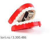 Купить «Заводная игрушечная челюсть на белом фоне», фото № 3300486, снято 1 октября 2010 г. (c) Losevsky Pavel / Фотобанк Лори