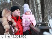 Купить «Счастливый отец с женой и маленькой дочерью в зимнем парке», фото № 3301050, снято 31 января 2010 г. (c) Losevsky Pavel / Фотобанк Лори