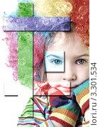 Купить «Девочка в клоунском парике с разноцветными фигурами впереди, коллаж», фото № 3301534, снято 10 февраля 2010 г. (c) Losevsky Pavel / Фотобанк Лори