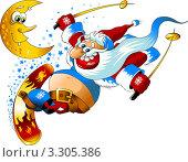 Купить «Рисунок весёлого Санта Клауса на сноуборде», иллюстрация № 3305386 (c) Vasiliev Sergey / Фотобанк Лори