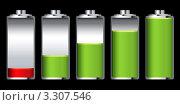 Купить «Степени разряда аккумулятора зеленого и красного цвета», иллюстрация № 3307546 (c) Michael Travers / Фотобанк Лори