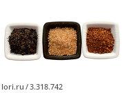 Купить «Изолированные чашки с  кофе, чаем и  сахаром на белом фоне», фото № 3318742, снято 13 июля 2020 г. (c) Chere / Фотобанк Лори