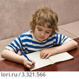 Купить «Мальчик пишет в тетради», фото № 3321566, снято 21 февраля 2012 г. (c) ИВА Афонская / Фотобанк Лори