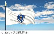 Купить «Флаг штата Массачусетс, США», видеоролик № 3328842, снято 8 марта 2012 г. (c) Михаил / Фотобанк Лори
