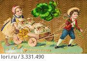 Купить «Дореволюционная новогодняя открытка. Дети везут мешки с деньгами», иллюстрация № 3331490 (c) Игорь Низов / Фотобанк Лори