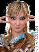 Купить «Лицо привлекательной девушки с колорированными волосами», фото № 3335302, снято 29 апреля 2010 г. (c) Сергей Сухоруков / Фотобанк Лори