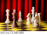 Купить «Шахматы на доске на красном фоне», фото № 3340966, снято 20 января 2012 г. (c) Elnur / Фотобанк Лори