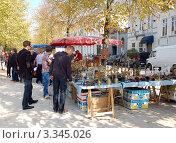 Купить «Барахолка в Брюгге. Покупатели рассматривают товары», фото № 3345026, снято 24 сентября 2011 г. (c) Светлана Колобова / Фотобанк Лори