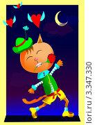 Рыжий влюбленный кот Валентин на ночной крыше. Стоковая иллюстрация, иллюстратор Евгения Молокеева / Фотобанк Лори