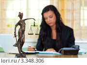 Купить «Девушка-юрист в кабинете», фото № 3348306, снято 2 декабря 2019 г. (c) Erwin Wodicka / Фотобанк Лори