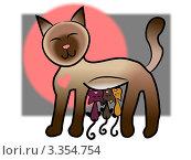 Мама кошка и три довольных котенка. Стоковая иллюстрация, иллюстратор Евгения Молокеева / Фотобанк Лори