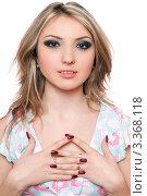 Купить «Портрет симпатичной блондинки на белом фоне», фото № 3368118, снято 18 апреля 2010 г. (c) Сергей Сухоруков / Фотобанк Лори