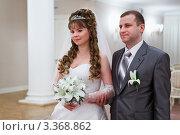 Купить «Жених и невеста в зале бракосочетания», фото № 3368862, снято 26 февраля 2012 г. (c) Кекяляйнен Андрей / Фотобанк Лори
