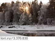Закат в зимнем лесу и протоке. Стоковое фото, фотограф Нуйкин Всеволод / Фотобанк Лори