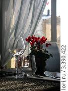 Франция, сервированный стол в ресторане города Амбуаз. Стоковое фото, фотограф Виталий Тюлькин / Фотобанк Лори