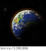 Купить «Земля в открытом космосе, освещенная Солнцем», иллюстрация № 3390806 (c) Игорь Чайковский / Фотобанк Лори
