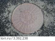 Купить «Люк Мосэнерго на асфальте после дождя», фото № 3392238, снято 10 сентября 2011 г. (c) Юлия Батурина / Фотобанк Лори
