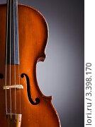 Купить «Крупный план скрипки  на сером фоне», фото № 3398170, снято 16 февраля 2012 г. (c) Elnur / Фотобанк Лори
