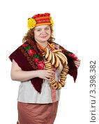 Купить «Девушка в народном наряде», фото № 3398382, снято 15 октября 2011 г. (c) Яков Филимонов / Фотобанк Лори