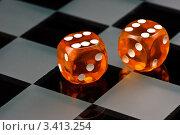 Купить «Игральные кости на шахматном поле», фото № 3413254, снято 15 сентября 2008 г. (c) Дмитрий Наумов / Фотобанк Лори