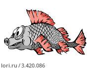 Купить «Серая рыбка с красными плавниками», иллюстрация № 3420086 (c) Катыкин Сергей / Фотобанк Лори