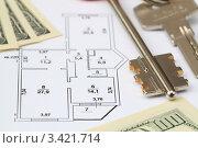 Купить «План квартиры, ключи и деньги», фото № 3421714, снято 8 апреля 2012 г. (c) Надежда Глазова / Фотобанк Лори