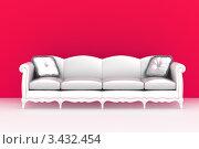 Современный светлый диван с подушками на красном фоне. Стоковая иллюстрация, иллюстратор Jalin / Фотобанк Лори