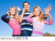 Купить «Друзья, разговаривающие по мобильным телефонам, на природе», фото № 3433118, снято 9 октября 2008 г. (c) Эдуард Стельмах / Фотобанк Лори