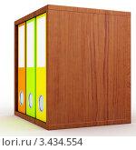 Разноцветные офисные папки на полке. Стоковая иллюстрация, иллюстратор Jalin / Фотобанк Лори