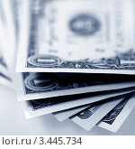 Купить «Пачка купюр достоинством в один доллар», фото № 3445734, снято 8 ноября 2011 г. (c) ElenArt / Фотобанк Лори