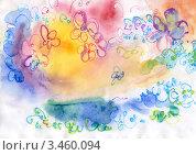 Цветы расплывчато-фон, акварель. Стоковая иллюстрация, иллюстратор Сайфутдинов Ильгиз / Фотобанк Лори