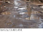Купить «Разбитая дорога», фото № 3461414, снято 17 апреля 2012 г. (c) Яков Филимонов / Фотобанк Лори