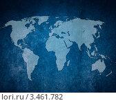 Карта мира на темно-синем фоне. Стоковая иллюстрация, иллюстратор Илья Афанасьев / Фотобанк Лори