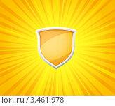 Купить «Яркий желтый фон с расходящимися лучами из середины и блестящим щитом», иллюстрация № 3461978 (c) Лагутин Сергей / Фотобанк Лори