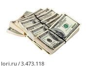 Купить «Пачки долларов США на белом фоне», фото № 3473118, снято 16 февраля 2012 г. (c) Яков Филимонов / Фотобанк Лори
