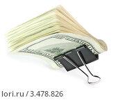 Купить «Офисный зажим с пачкой долларов на белом фоне», фото № 3478826, снято 27 февраля 2012 г. (c) Добыш Александр / Фотобанк Лори