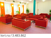 Купить «Холл с красными диванами в отеле», фото № 3483862, снято 23 ноября 2011 г. (c) Яков Филимонов / Фотобанк Лори