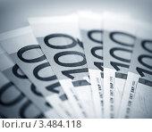 Купить «Купюры достоинством 100 евро», фото № 3484118, снято 4 марта 2011 г. (c) ElenArt / Фотобанк Лори