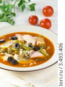 Купить «Суп - солянка с рыбой, перловкой, оливками и овощами», эксклюзивное фото № 3493406, снято 16 декабря 2011 г. (c) Александр Курлович / Фотобанк Лори